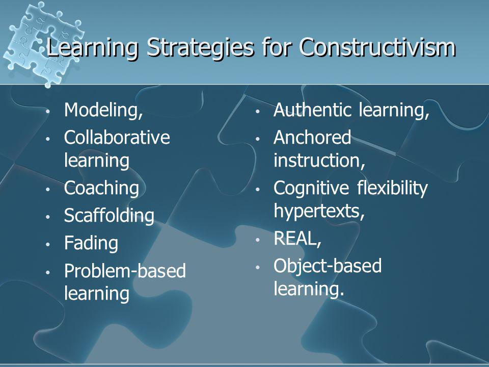 Learning Strategies for Constructivism Modeling, Collaborative learning Coaching Scaffolding Fading Problem-based learning Modeling, Collaborative learning Coaching Scaffolding Fading Problem-based learning Authentic learning, Anchored instruction, Cognitive flexibility hypertexts, REAL, Object-based learning.