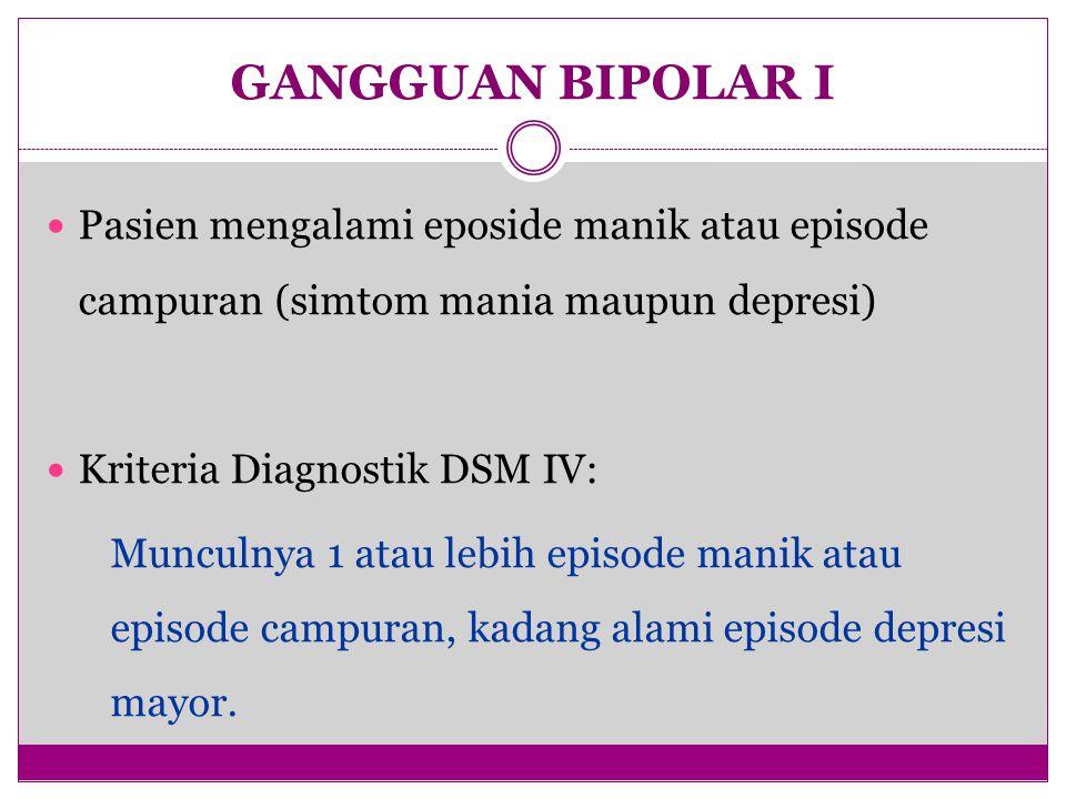 GANGGUAN BIPOLAR I Pasien mengalami eposide manik atau episode campuran (simtom mania maupun depresi) Kriteria Diagnostik DSM IV: Munculnya 1 atau leb