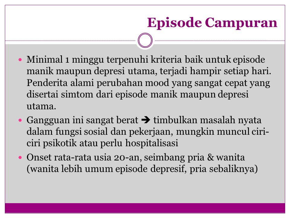 Episode Campuran Minimal 1 minggu terpenuhi kriteria baik untuk episode manik maupun depresi utama, terjadi hampir setiap hari. Penderita alami peruba