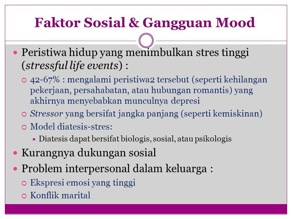 Faktor Sosial & Gangguan Mood Peristiwa hidup yang menimbulkan stres tinggi (stressful life events) :  42-67% : mengalami peristiwa2 tersebut (sepert