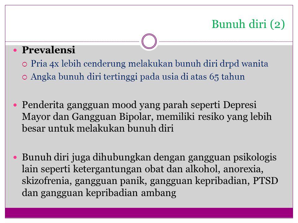 Bunuh diri (2) Prevalensi  Pria 4x lebih cenderung melakukan bunuh diri drpd wanita  Angka bunuh diri tertinggi pada usia di atas 65 tahun Penderita
