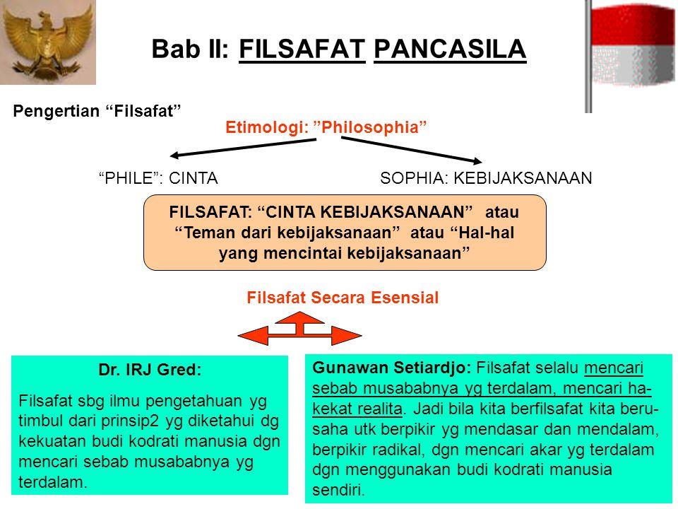 """Bab II: FILSAFAT PANCASILA Pengertian """"Filsafat"""" """"PHILE"""": CINTASOPHIA: KEBIJAKSANAAN FILSAFAT: """"CINTA KEBIJAKSANAAN"""" atau """"Teman dari kebijaksanaan"""" a"""
