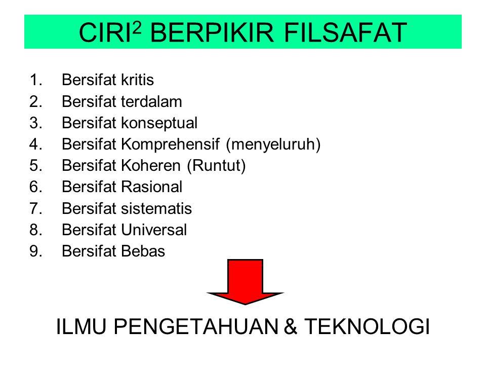 CIRI 2 BERPIKIR FILSAFAT 1.Bersifat kritis 2.Bersifat terdalam 3.Bersifat konseptual 4.Bersifat Komprehensif (menyeluruh) 5.Bersifat Koheren (Runtut)
