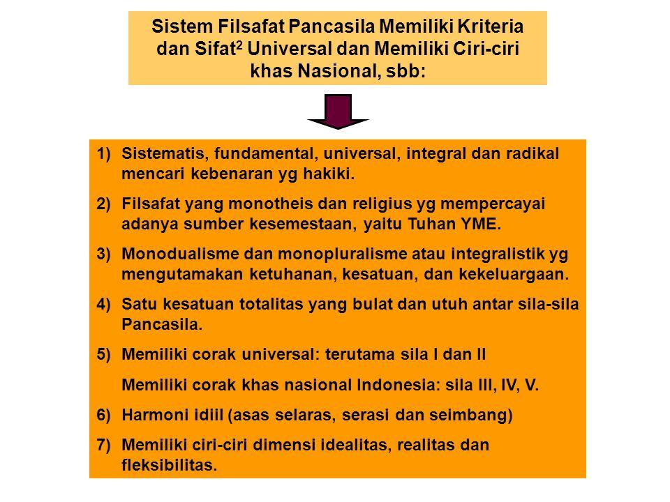 Sistem Filsafat Pancasila Memiliki Kriteria dan Sifat 2 Universal dan Memiliki Ciri-ciri khas Nasional, sbb: 1)Sistematis, fundamental, universal, int