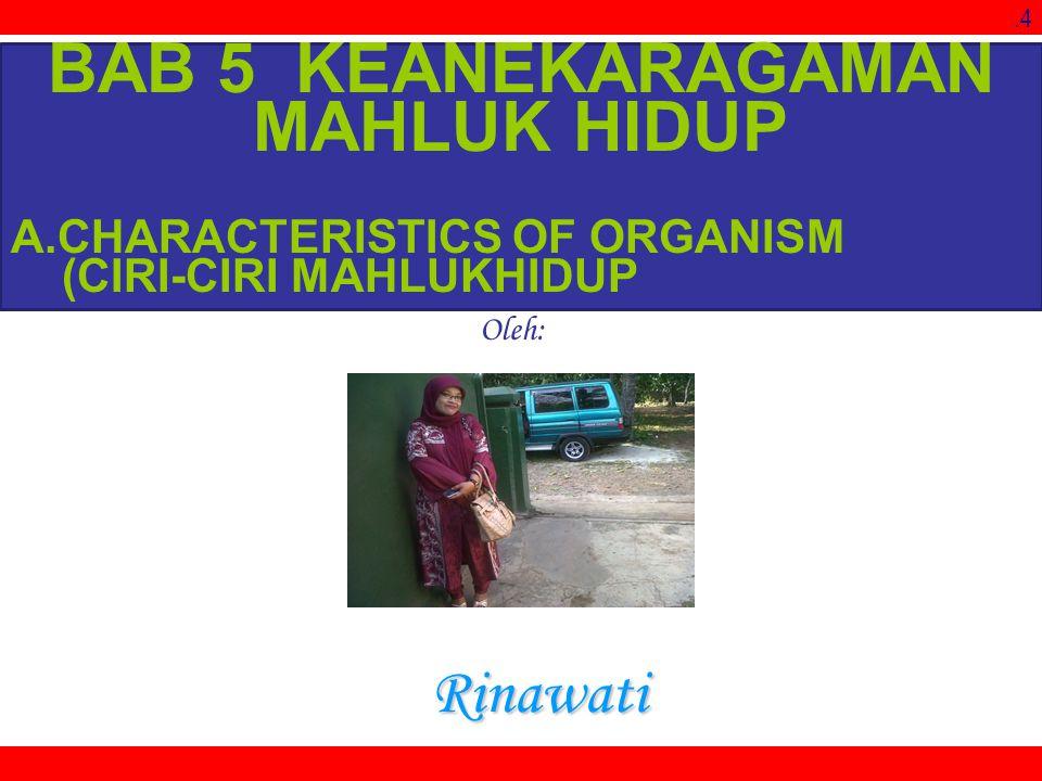 .4 Oleh: Rinawati BAB 5 KEANEKARAGAMAN MAHLUK HIDUP A.CHARACTERISTICS OF ORGANISM (CIRI-CIRI MAHLUKHIDUP