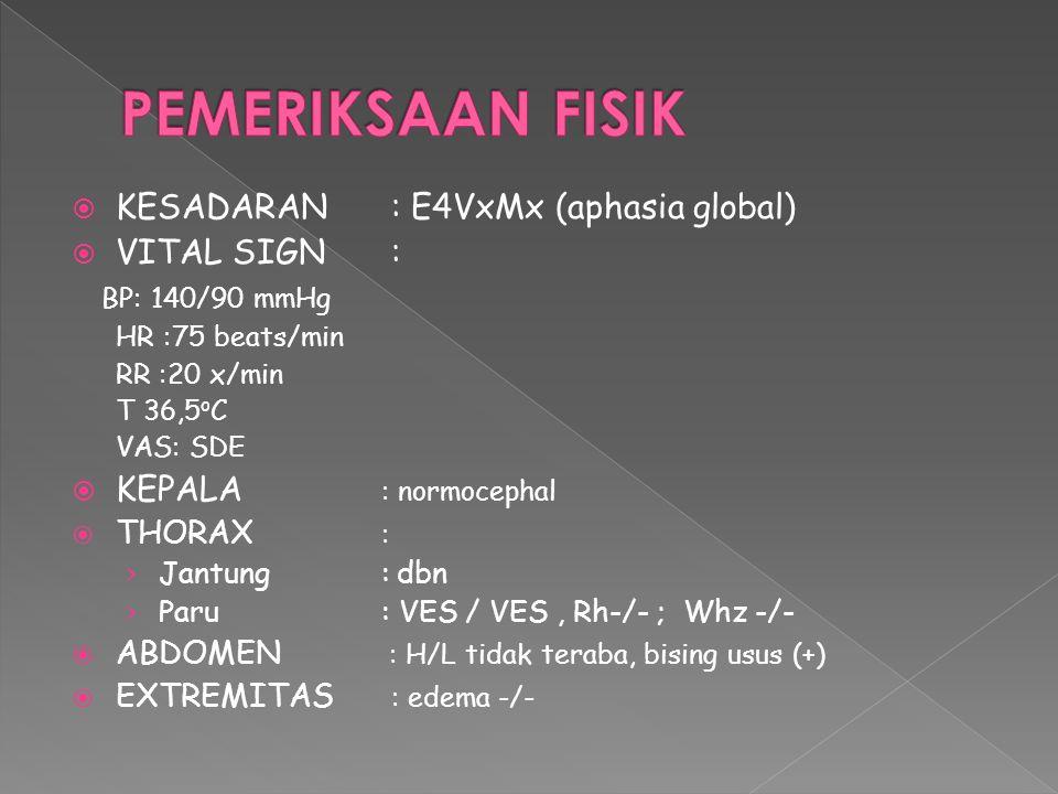  KESADARAN: E4VXMX  FUNGSI LUHUR : AFASIA GLOBAL  FUNGSI VEGETATIF: DC, NGT  FUNGSI SENSORIK: SDE  FUNGSI MOTORIK: KTRFRP LATERALISASI MOTORIK DX ↑ N ↑ N +3+2 +3+2 ++ ++ Hoffman tromner Babinsky, gordon chaddock