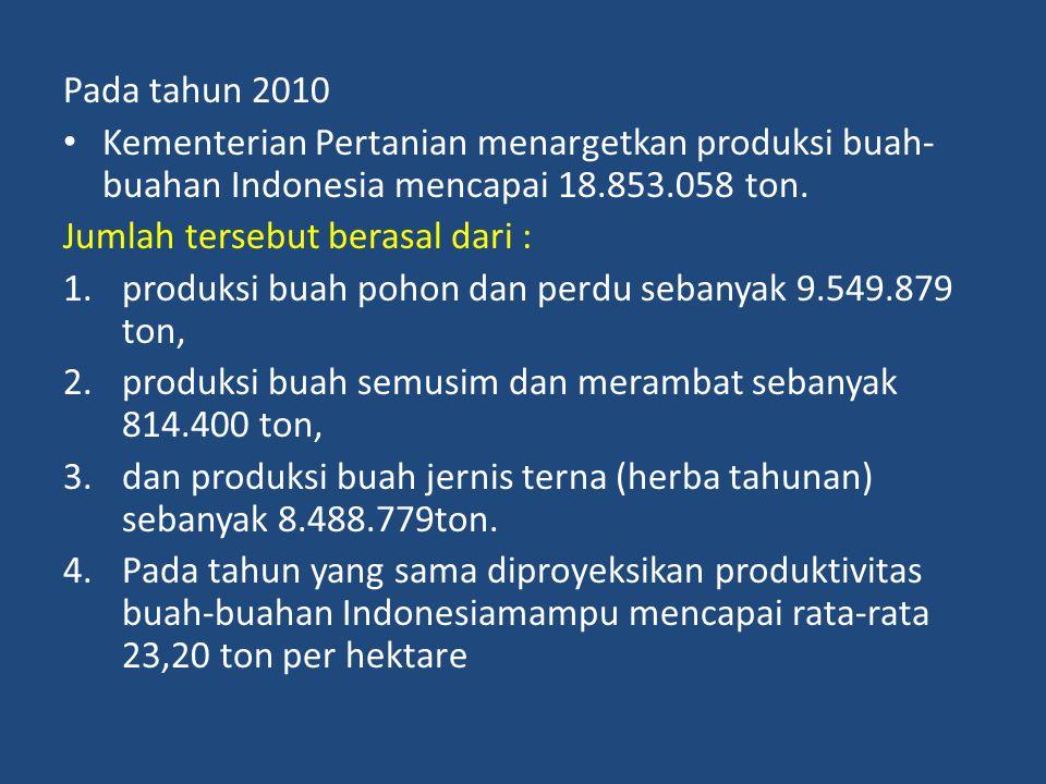 Pada tahun 2010 Kementerian Pertanian menargetkan produksi buah- buahan Indonesia mencapai 18.853.058 ton. Jumlah tersebut berasal dari : 1.produksi b