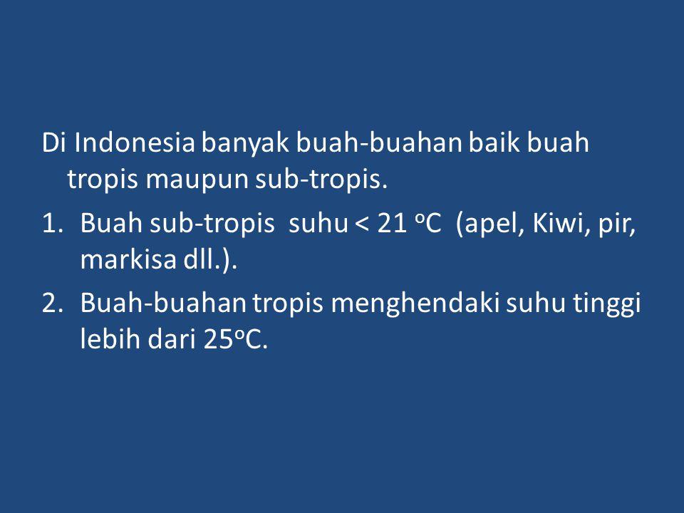 Di Indonesia banyak buah-buahan baik buah tropis maupun sub-tropis. 1.Buah sub-tropis suhu < 21 o C (apel, Kiwi, pir, markisa dll.). 2.Buah-buahan tro