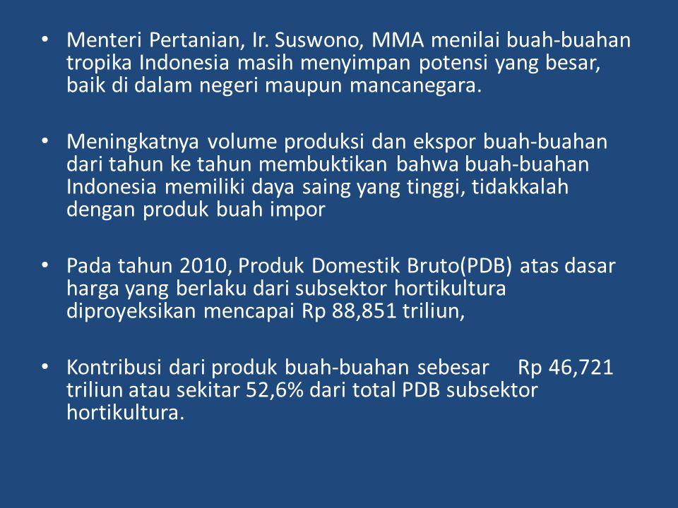 Menteri Pertanian, Ir. Suswono, MMA menilai buah-buahan tropika Indonesia masih menyimpan potensi yang besar, baik di dalam negeri maupun mancanegara.