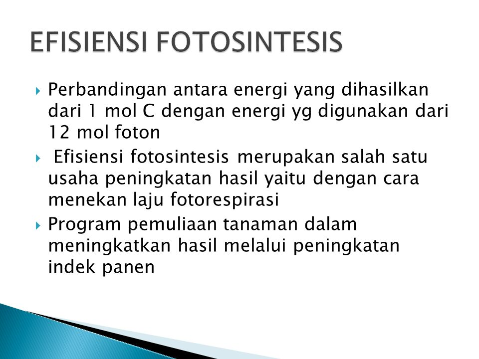  Perbandingan antara energi yang dihasilkan dari 1 mol C dengan energi yg digunakan dari 12 mol foton  Efisiensi fotosintesis merupakan salah satu usaha peningkatan hasil yaitu dengan cara menekan laju fotorespirasi  Program pemuliaan tanaman dalam meningkatkan hasil melalui peningkatan indek panen