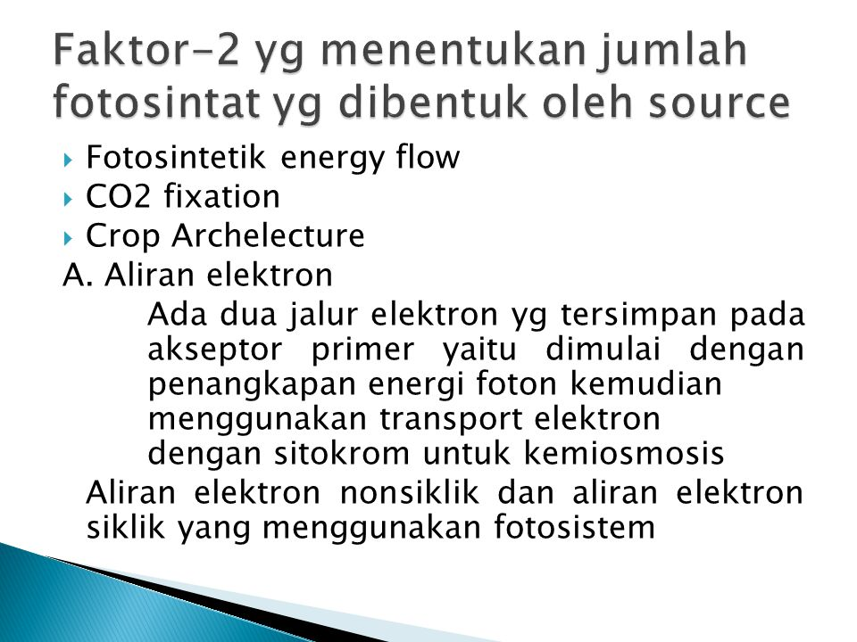  Fotosintetik energy flow  CO2 fixation  Crop Archelecture A.