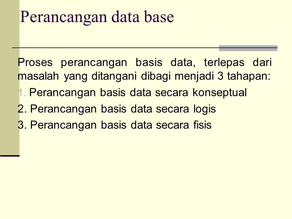 Proses perancangan basis data, terlepas dari masalah yang ditangani dibagi menjadi 3 tahapan: 1.