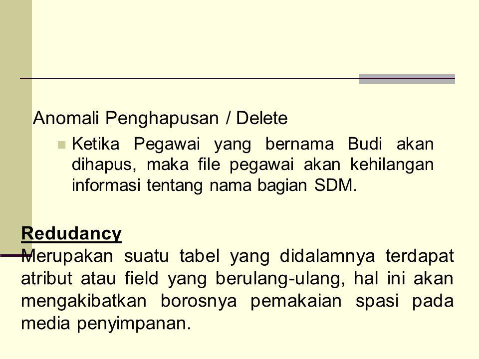 Anomali Penghapusan / Delete Ketika Pegawai yang bernama Budi akan dihapus, maka file pegawai akan kehilangan informasi tentang nama bagian SDM.