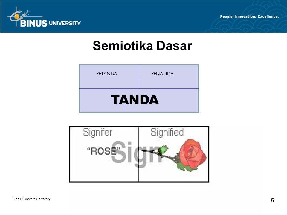 Bina Nusantara University 5 Semiotika Dasar TANDA PETANDAPENANDA TANDA