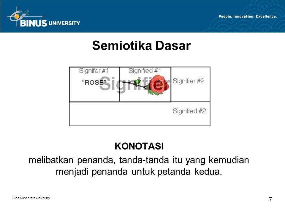 Bina Nusantara University 7 Semiotika Dasar KONOTASI melibatkan penanda, tanda-tanda itu yang kemudian menjadi penanda untuk petanda kedua.