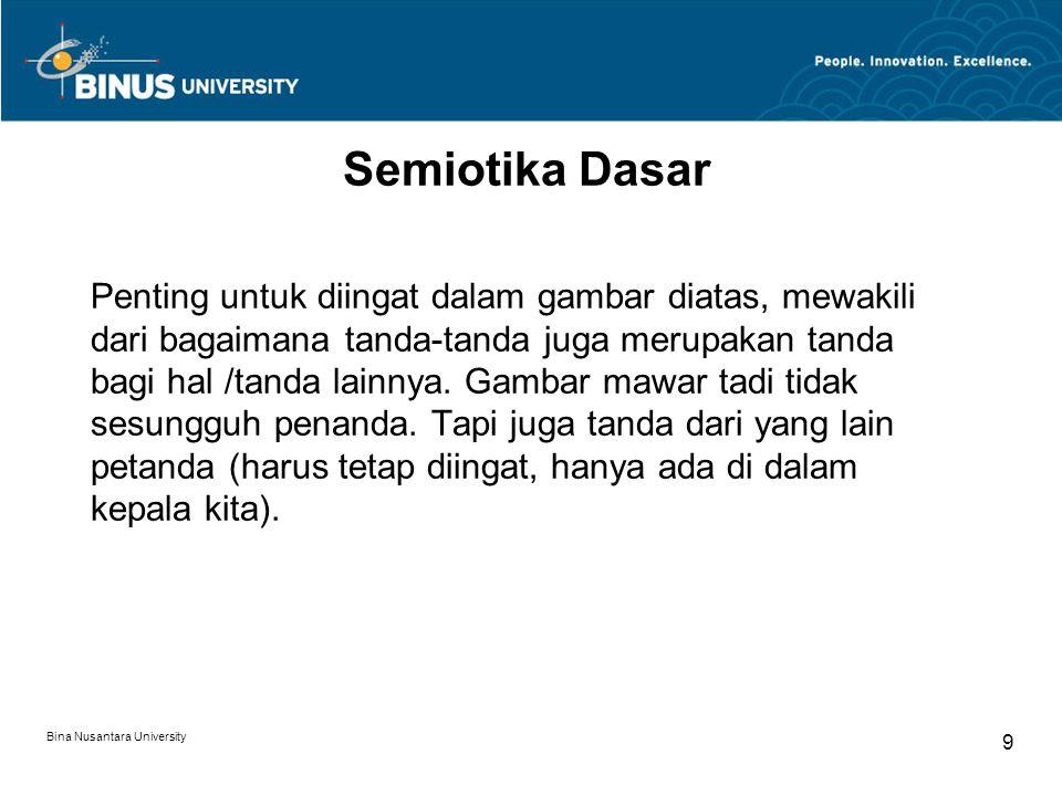 Bina Nusantara University 9 Semiotika Dasar Penting untuk diingat dalam gambar diatas, mewakili dari bagaimana tanda-tanda juga merupakan tanda bagi hal /tanda lainnya.