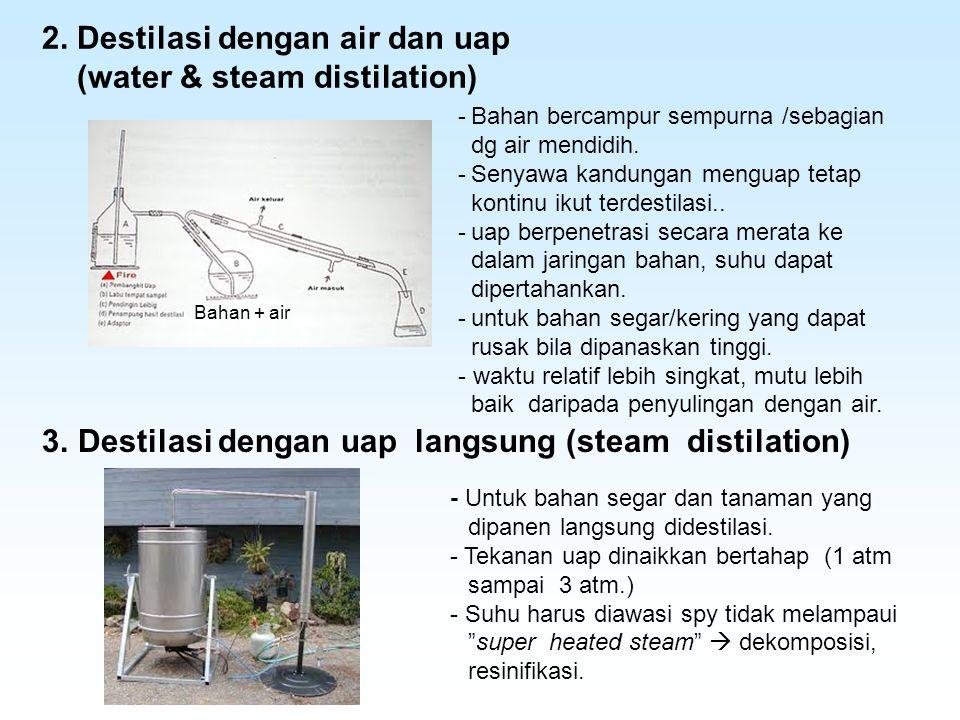 2. Destilasi dengan air dan uap (water & steam distilation) -Bahan bercampur sempurna /sebagian dg air mendidih. -Senyawa kandungan menguap tetap kont