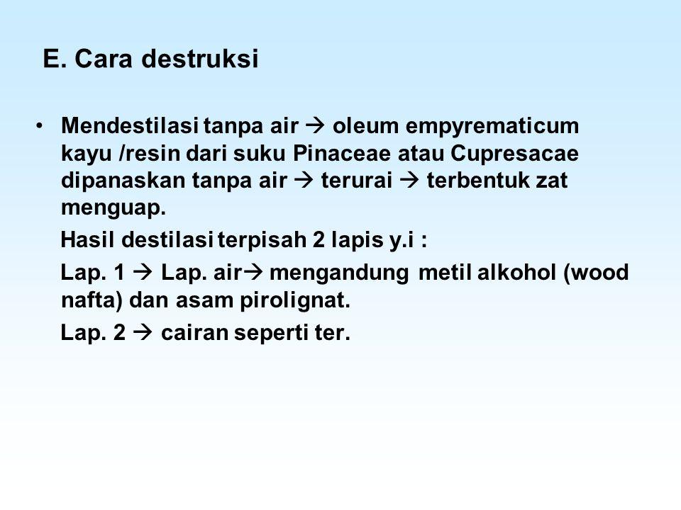 E. Cara destruksi Mendestilasi tanpa air  oleum empyrematicum kayu /resin dari suku Pinaceae atau Cupresacae dipanaskan tanpa air  terurai  terbent