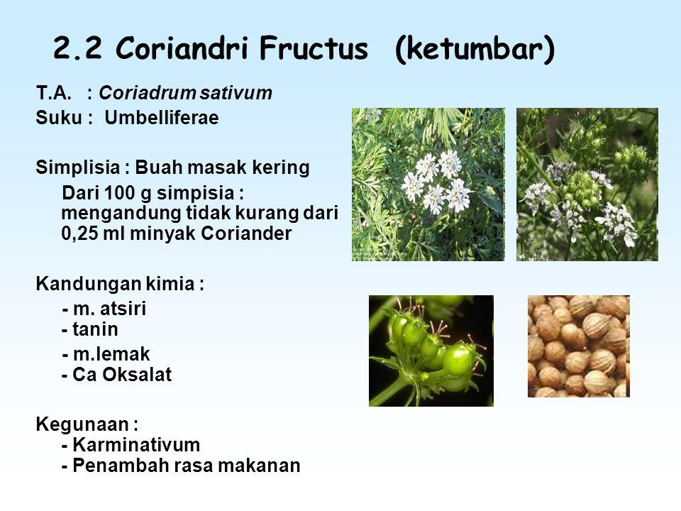2.2 Coriandri Fructus (ketumbar) T.A. : Coriadrum sativum Suku : Umbelliferae Simplisia : Buah masak kering Dari 100 g simpisia : mengandung tidak kur