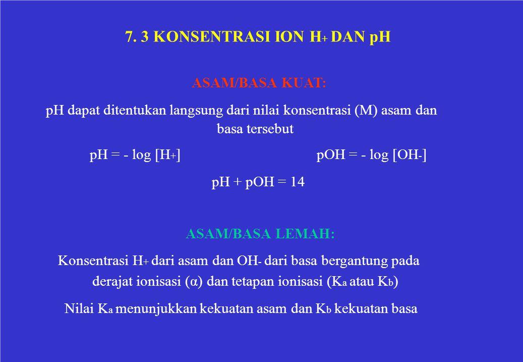 7. 3 KONSENTRASI ION H + DAN pH ASAM/BASA KUAT: pH dapat ditentukan langsung dari nilai konsentrasi (M) asam dan basa tersebut pH = - log [H + ]pOH =