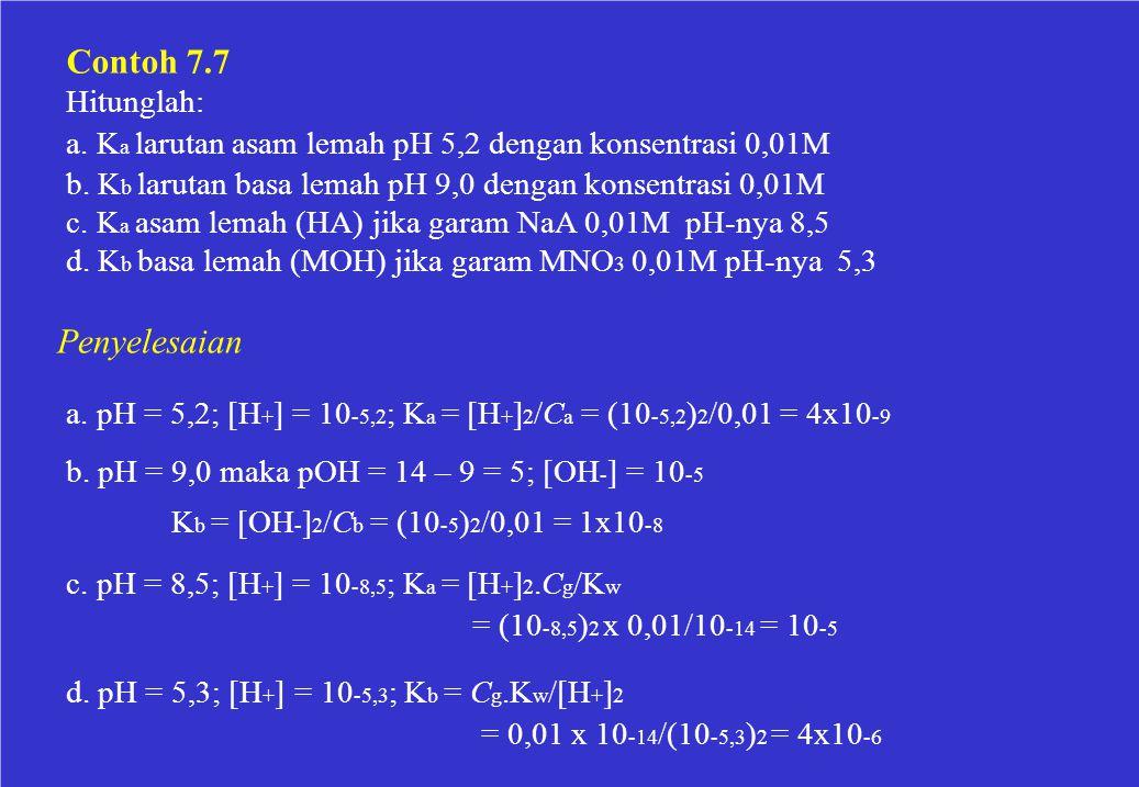 Contoh 7.7 Hitunglah: a. K a larutan asam lemah pH 5,2 dengan konsentrasi 0,01M b. K b larutan basa lemah pH 9,0 dengan konsentrasi 0,01M c. K a asam