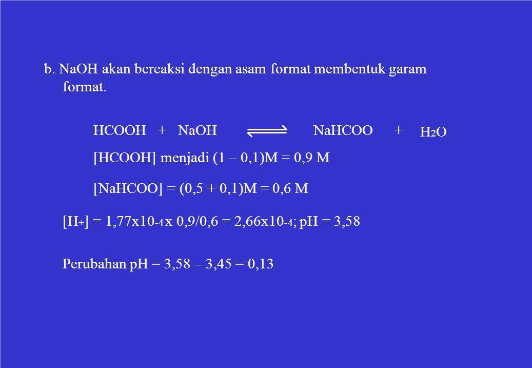 b. NaOH akan bereaksi dengan asam format membentuk garam format. HCOOH + NaOHNaHCOO+ H2OH2O [HCOOH] menjadi (1 – 0,1)M = 0,9 M [NaHCOO] = (0,5 + 0,1)M