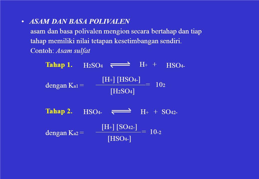 ASAM DAN BASA POLIVALEN asam dan basa polivalen mengion secara bertahap dan tiap tahap memiliki nilai tetapan kesetimbangan sendiri. Contoh: Asam sulf