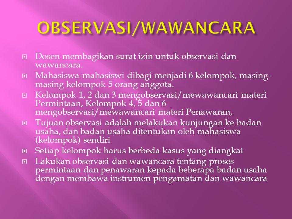  Dosen membagikan surat izin untuk observasi dan wawancara.  Mahasiswa-mahasiswi dibagi menjadi 6 kelompok, masing- masing kelompok 5 orang anggota.