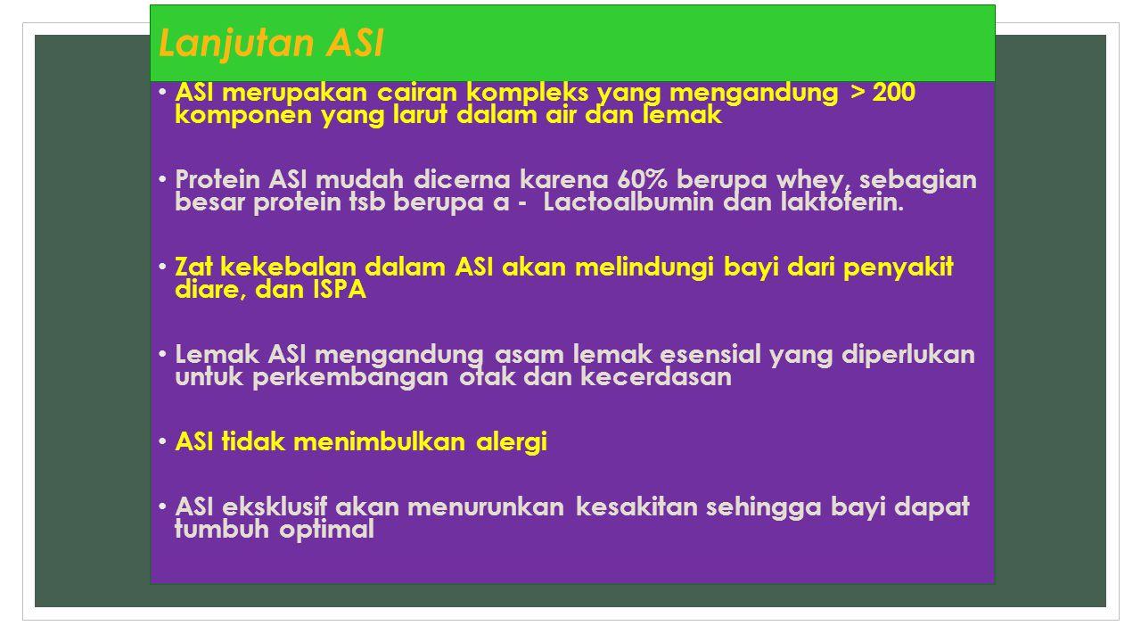 Lanjutan ASI ASI merupakan cairan kompleks yang mengandung > 200 komponen yang larut dalam air dan lemak Protein ASI mudah dicerna karena 60% berupa w