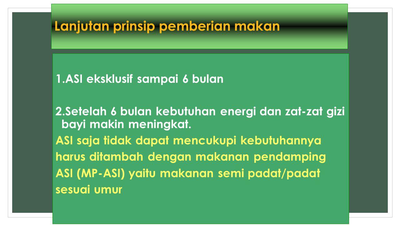 Lanjutan prinsip pemberian makan 1.ASI eksklusif sampai 6 bulan 2.Setelah 6 bulan kebutuhan energi dan zat-zat gizi bayi makin meningkat. ASI saja tid