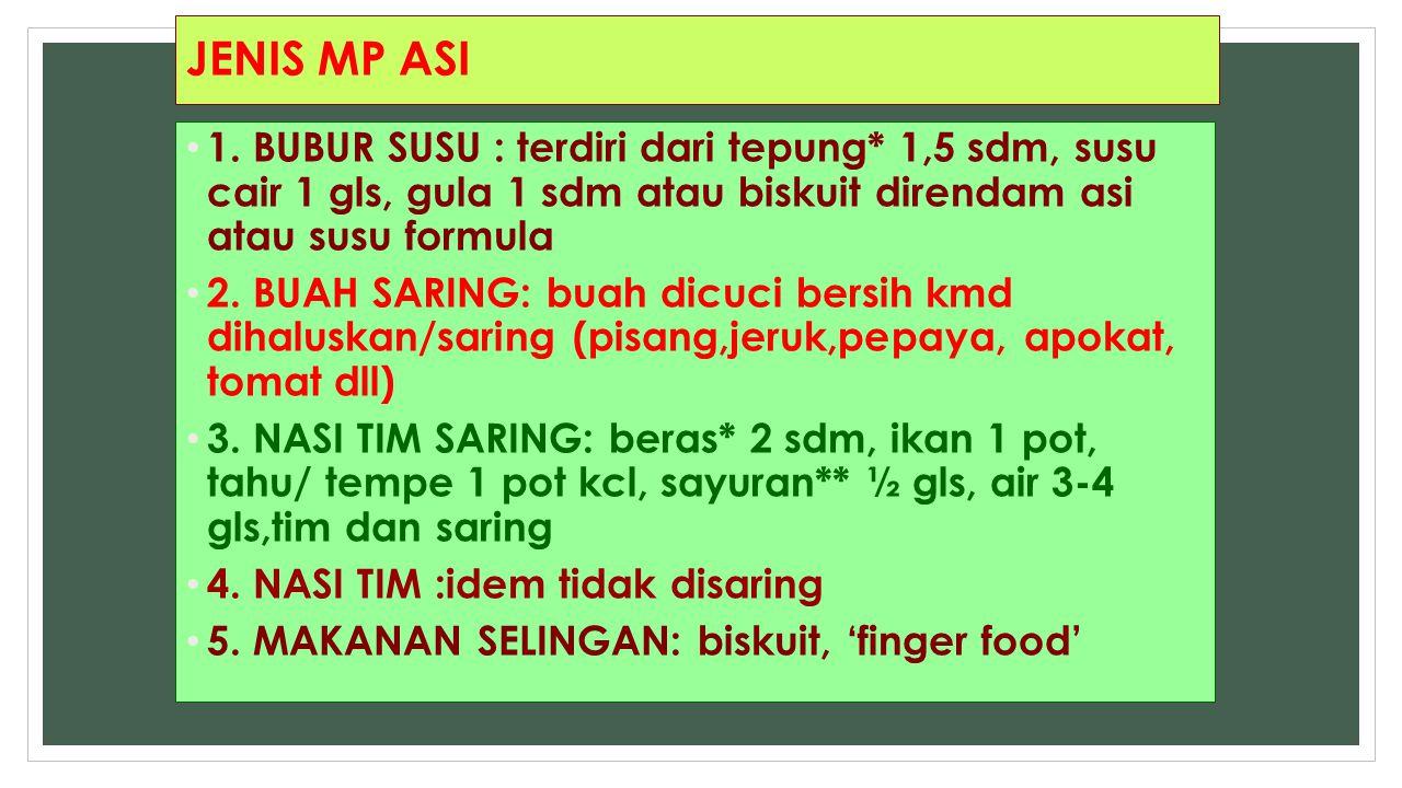 JENIS MP ASI 1. BUBUR SUSU : terdiri dari tepung* 1,5 sdm, susu cair 1 gls, gula 1 sdm atau biskuit direndam asi atau susu formula 2. BUAH SARING: bua