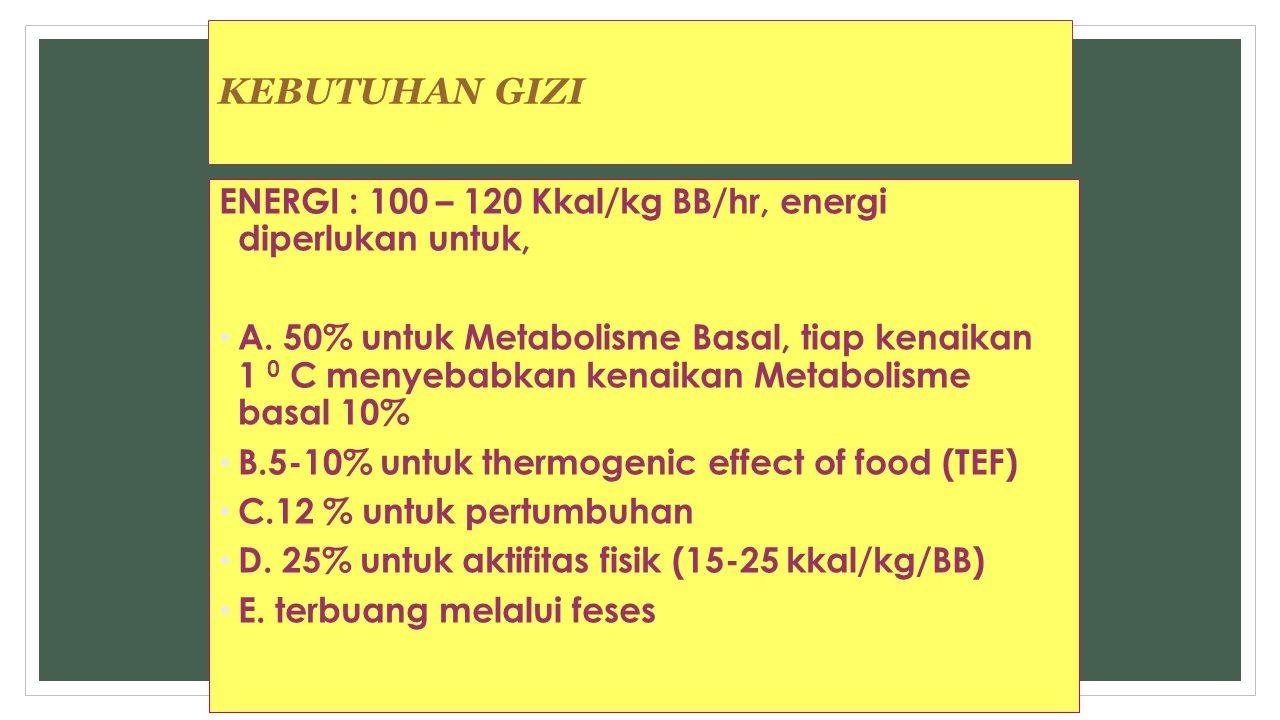 KEBUTUHAN GIZI ENERGI : 100 – 120 Kkal/kg BB/hr, energi diperlukan untuk, A. 50% untuk Metabolisme Basal, tiap kenaikan 1 0 C menyebabkan kenaikan Met