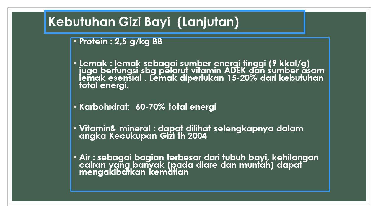Kebutuhan Gizi Bayi (Lanjutan) Protein : 2,5 g/kg BB Lemak : lemak sebagai sumber energi tinggi (9 kkal/g) juga berfungsi sbg pelarut vitamin ADEK dan