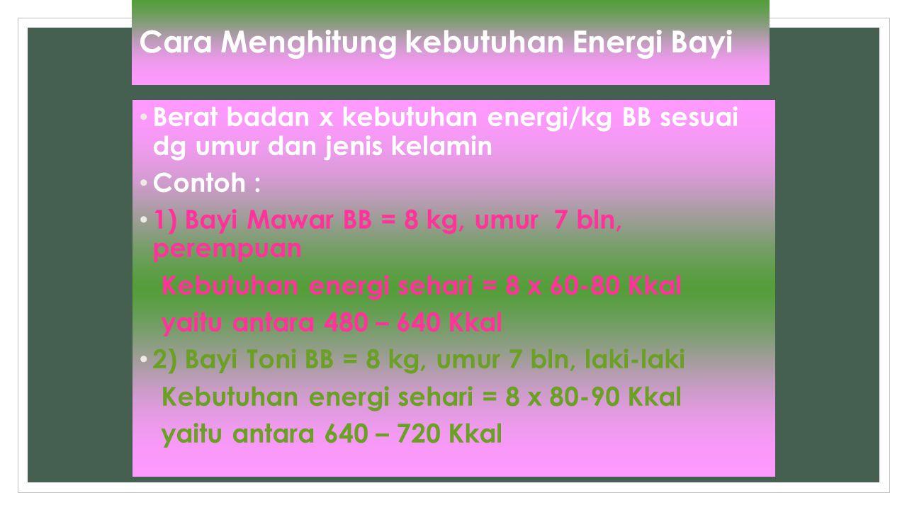 Cara Menghitung kebutuhan Energi Bayi Berat badan x kebutuhan energi/kg BB sesuai dg umur dan jenis kelamin Contoh : 1) Bayi Mawar BB = 8 kg, umur 7 b