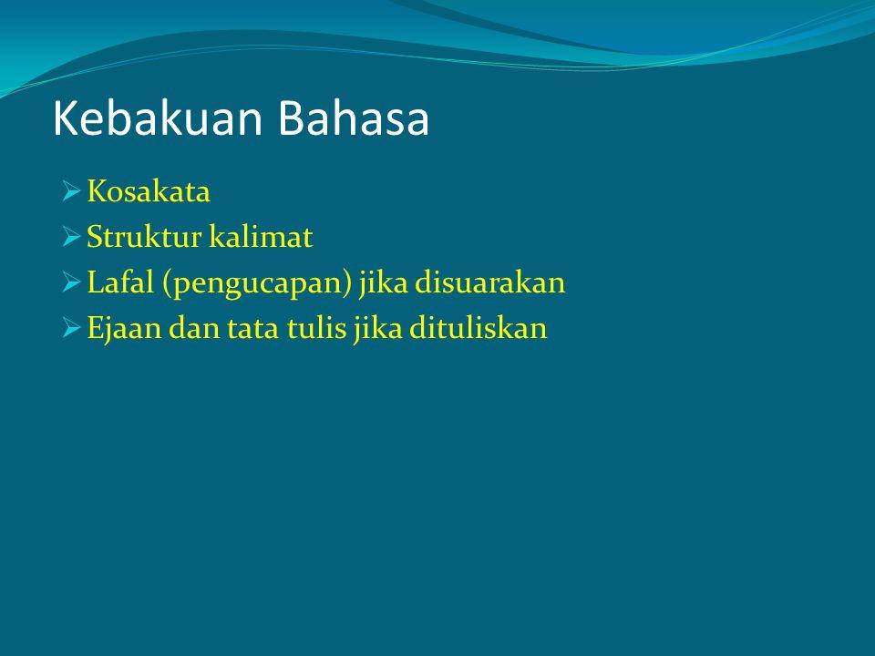 Tidak memergunakan kata-kata koloqial, kata-kata tidak baku seperti yang banyak dipakai dalam bahasa lisan Kata koloqial dari bahasa daerah: lho, kok, mbok, wong (orang) Kata koloqial dari dialek tertentu: gue, ngapain, diberiin, atau akhiran in pada hampir semua kata Kata koloqial bahasa Indonesia: gak, tak, gitu, nampak, kayaknya, kamunya, Tidak memergunakan kosakata bahasa Indonesia kurang baku: membikin, nampaknya, bisa (dapat), Tidak memergunakan gabungan kata semu: bikin lebar (melebarkan), bikin baik (memerbaiki)