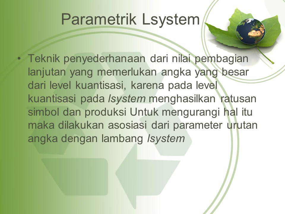 Parametrik Lsystem Teknik penyederhanaan dari nilai pembagian lanjutan yang memerlukan angka yang besar dari level kuantisasi, karena pada level kuantisasi pada lsystem menghasilkan ratusan simbol dan produksi Untuk mengurangi hal itu maka dilakukan asosiasi dari parameter urutan angka dengan lambang lsystem