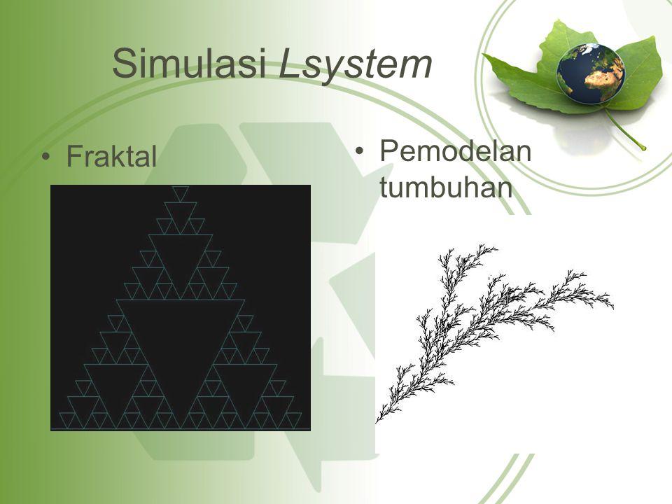 Tabel parameter pada daun majemuk GambarPanjang SegmenLebar DaunPanjang Derivasi abcdeabcde 0,01 0,005 0,003 0,001 0,0003 0,0035 0,0025 0,0015 3 5 7 9 11 LSystem::ReproduksiAturan r1; r1.from = F ; r1.to = FF ; lSys->tambahAturan(r1); LSystem::ReproduksiAturan r2; r2.from = X ; r2.to = FF[[-%X][+&X]FXX@ ; Sys->tambahAturan(r2);
