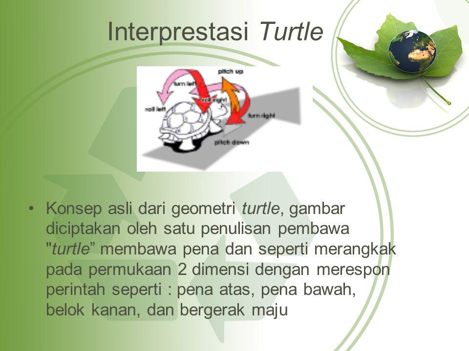 Aturan Interprestasi Turtle Matriks rotasi pada turtle geometry Penggambaran gerakan interprestasi turtle dinyatakan dalam sistem koordinat dinotasikan menggunakan 6 notasi yaitu (x, y, z, αx, αy, αz).