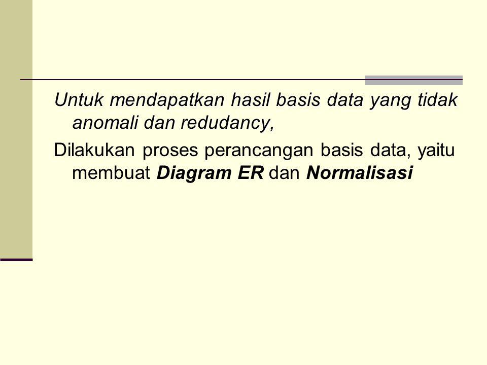 Untuk mendapatkan hasil basis data yang tidak anomali dan redudancy, Dilakukan proses perancangan basis data, yaitu membuat Diagram ER dan Normalisasi