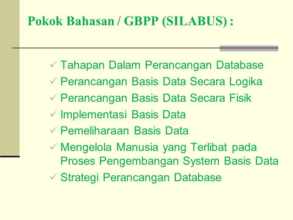 Pokok Bahasan / GBPP (SILABUS) : Tahapan Dalam Perancangan Database Perancangan Basis Data Secara Logika Perancangan Basis Data Secara Fisik Implement