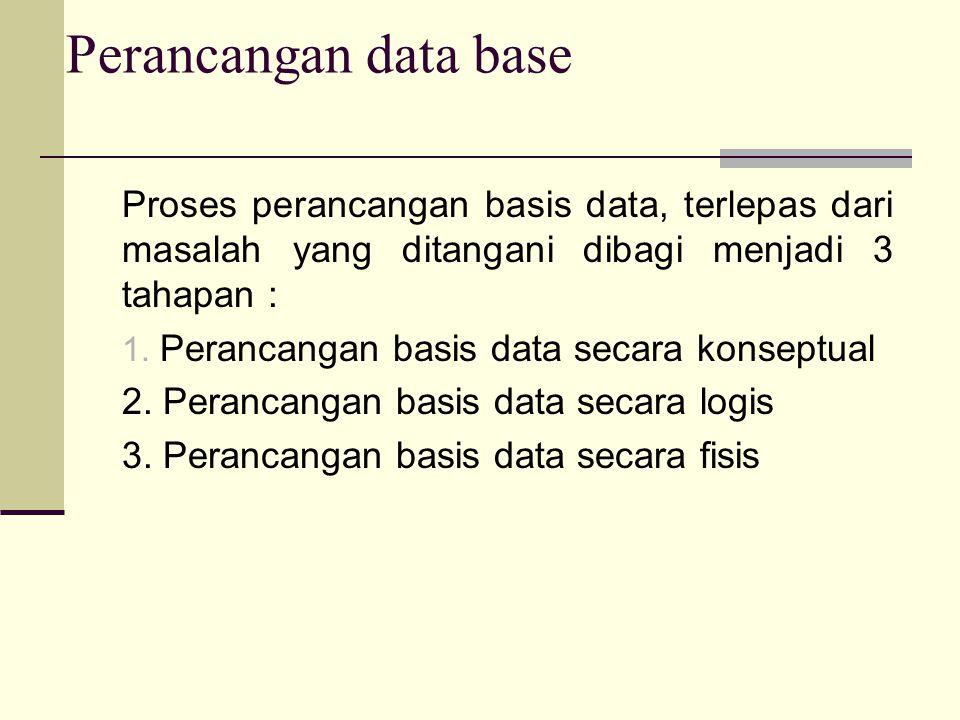 Proses perancangan basis data, terlepas dari masalah yang ditangani dibagi menjadi 3 tahapan : 1. Perancangan basis data secara konseptual 2. Perancan