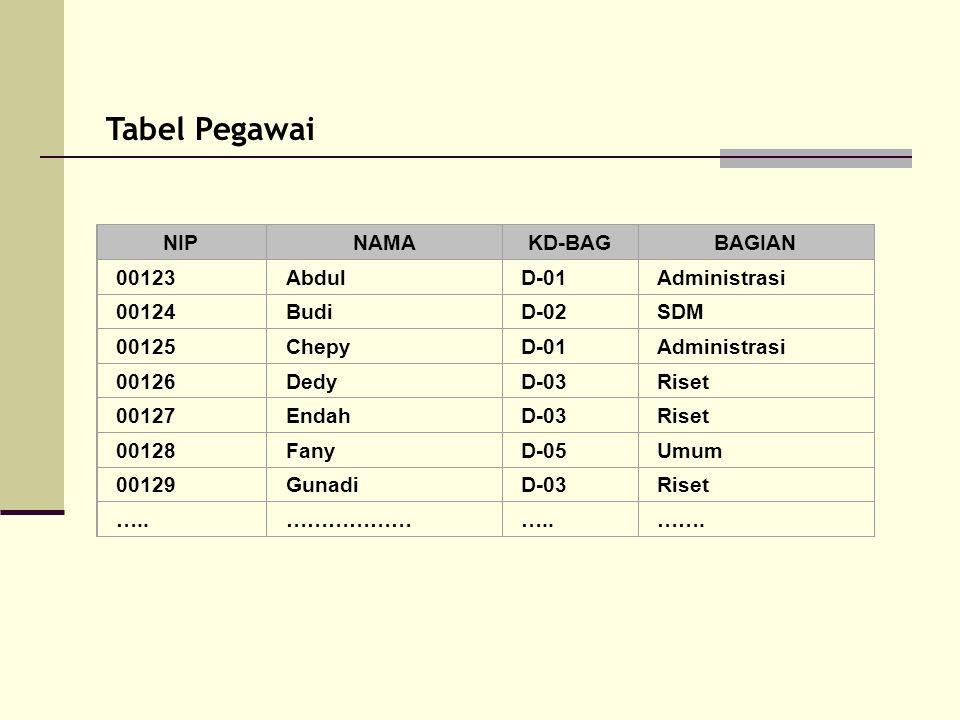 Tabel Pegawai NIPNAMAKD-BAGBAGIAN 00123AbdulD-01Administrasi 00124BudiD-02SDM 00125ChepyD-01Administrasi 00126DedyD-03Riset 00127EndahD-03Riset 00128F