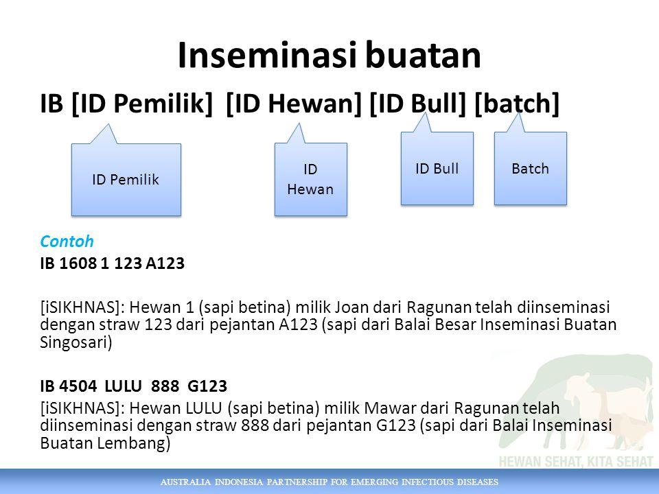 AUSTRALIA INDONESIA PARTNERSHIP FOR EMERGING INFECTIOUS DISEASES Inseminasi buatan IB [ID Pemilik] [ID Hewan] [ID Bull] [batch] Contoh IB 1608 1 123 A123 [iSIKHNAS]: Hewan 1 (sapi betina) milik Joan dari Ragunan telah diinseminasi dengan straw 123 dari pejantan A123 (sapi dari Balai Besar Inseminasi Buatan Singosari) IB 4504 LULU 888 G123 [iSIKHNAS]: Hewan LULU (sapi betina) milik Mawar dari Ragunan telah diinseminasi dengan straw 888 dari pejantan G123 (sapi dari Balai Inseminasi Buatan Lembang) ID Pemilik ID Hewan ID Bull Batch