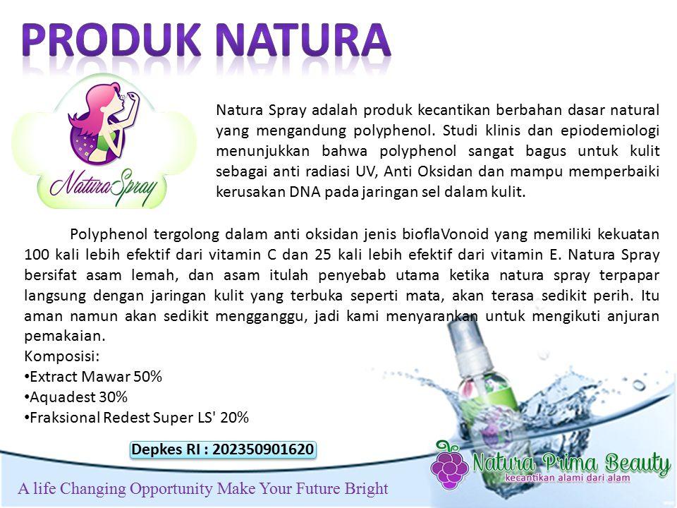 t A life Changing Opportunity Make Your Future Bright Natura Spray adalah produk kecantikan berbahan dasar natural yang mengandung polyphenol.