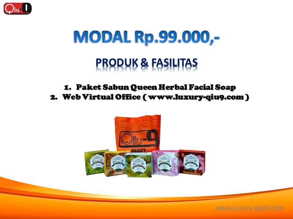 1.Paket Sabun Queen Herbal Facial Soap 2.Web Virtual Office ( www.luxury-qiu9.com ) www.luxury-qiu9.com