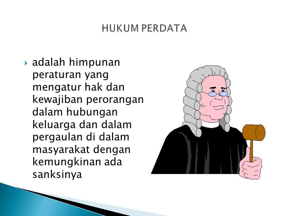  adalah himpunan peraturan yang mengatur hak dan kewajiban perorangan dalam hubungan keluarga dan dalam pergaulan di dalam masyarakat dengan kemungkinan ada sanksinya