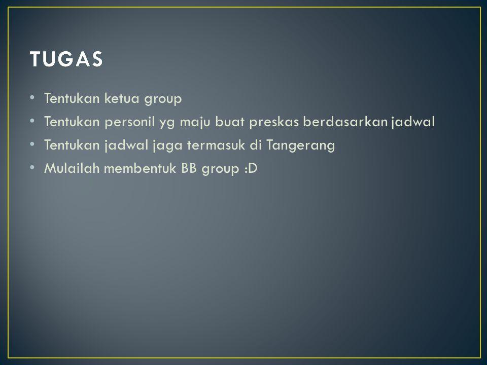 Tentukan ketua group Tentukan personil yg maju buat preskas berdasarkan jadwal Tentukan jadwal jaga termasuk di Tangerang Mulailah membentuk BB group