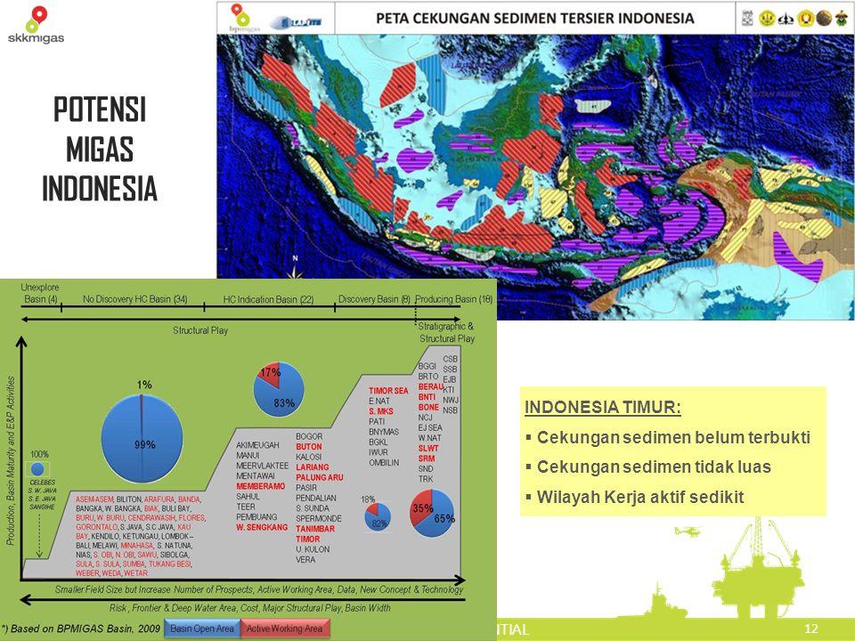 12 PRIVATE AND CONFIDENTIAL POTENSI MIGAS INDONESIA INDONESIA TIMUR:  Cekungan sedimen belum terbukti  Cekungan sedimen tidak luas  Wilayah Kerja a