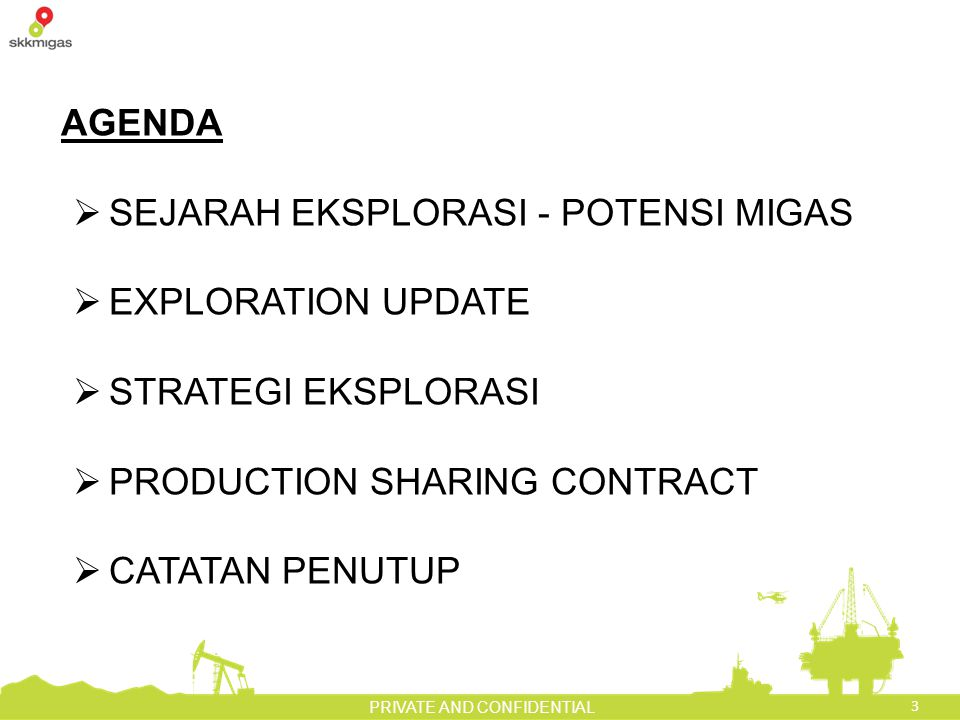 3 PRIVATE AND CONFIDENTIAL AGENDA  SEJARAH EKSPLORASI - POTENSI MIGAS  EXPLORATION UPDATE  STRATEGI EKSPLORASI  PRODUCTION SHARING CONTRACT  CATATAN PENUTUP