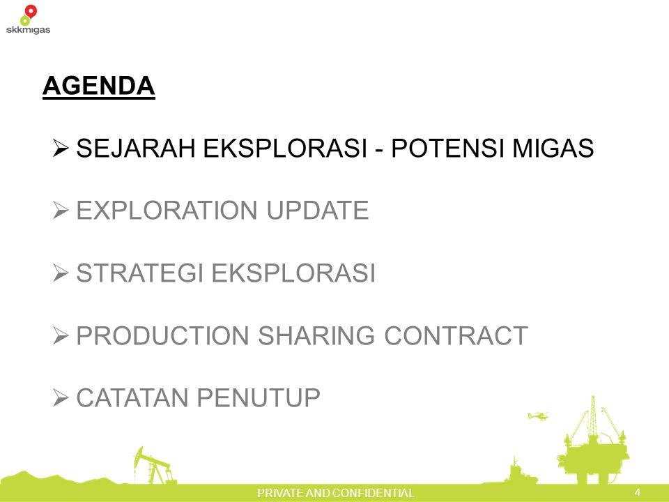4 PRIVATE AND CONFIDENTIAL AGENDA  SEJARAH EKSPLORASI - POTENSI MIGAS  EXPLORATION UPDATE  STRATEGI EKSPLORASI  PRODUCTION SHARING CONTRACT  CATATAN PENUTUP